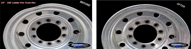 Before and after straightened/repaired ladder fire-truck rim
