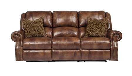 Walworth Leather Reclining Sofa Auburn