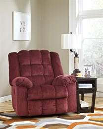Ludden Upholstered Power Rocker Recliner Burgandy