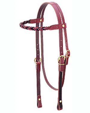 Weaver Browband Headstall 2 Tone 5 Plait Chocolate