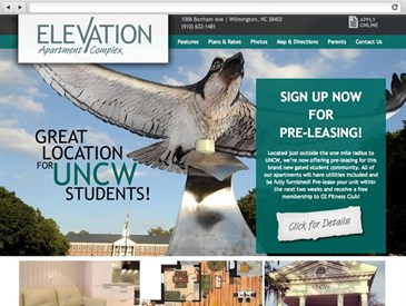 Elevation NC - apartment complex web design