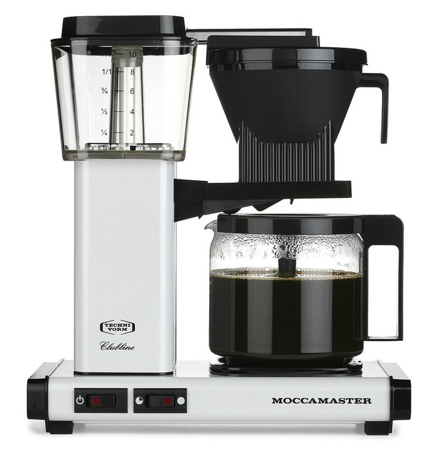 Carolina Coffee   A Technivorm Moccamaster KBG Automatc Drip Stop Coffee Maker with Glass Carafe - White Metallic