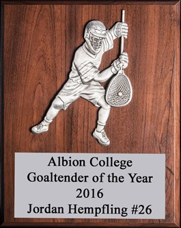 BVGV912 - 9 X 12 Goalie Player Plaque