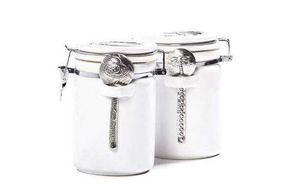 Carolina Coffee White Porcelain Canister - One Pound