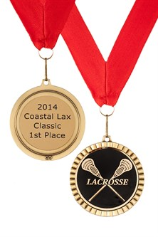 MDL-CM- Crossed Stick Mylar Lacrosse Medal ***SALE $3.45***