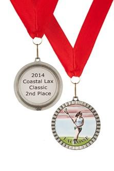 MDL-FM- Female Mylar Lacrosse Medal ***SALE $3.45***