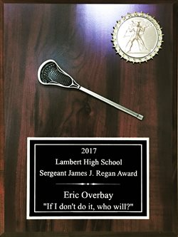 SA912 - Single Lacrosse Stick 9 X 12 Plaque