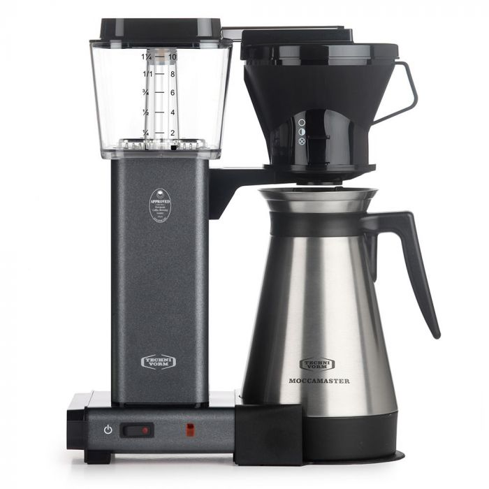 Carolina Coffee Technivorm Moccamaster KBGT Automatic Drip Stop Coffee Maker with Thermal Carafe - Stone Grey
