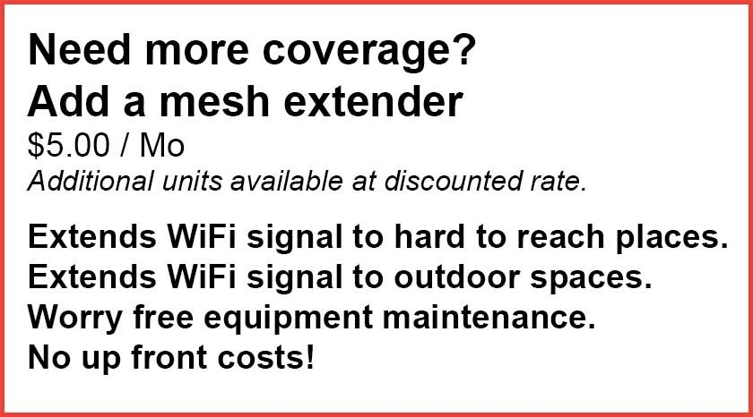 Mesh Extender for hard to reach places and outdoor spaces